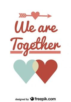 Couple symbol valentine's day retro card design Free Vector