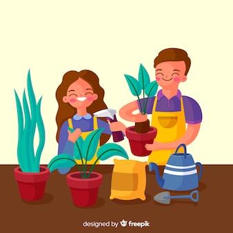 植物の世話をするカップル