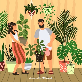 Couple taking care of plants