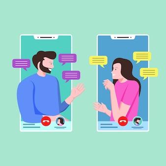 Пара разговаривает и общается по видео звонкам