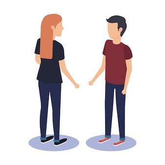 Couple talking avatars characters