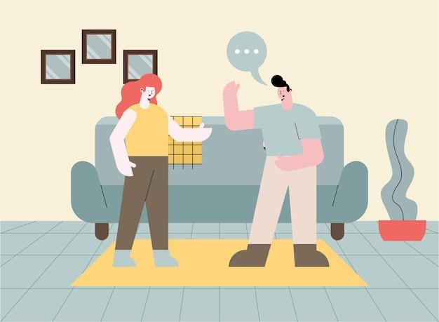 Пара, говорящая о повседневной жизни дома