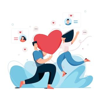 Пара разговаривает онлайн и встречается