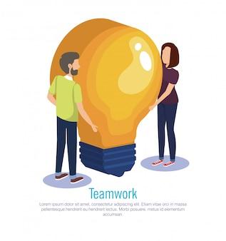 Couple teamwork with bulb