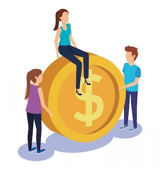Couple teamwork with coin