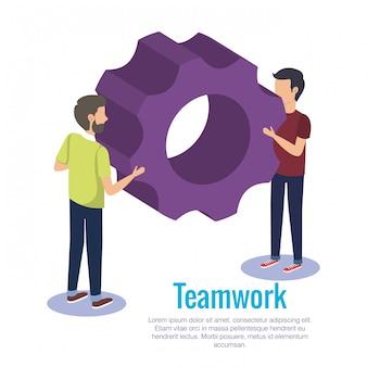 Couple teamwork with gears