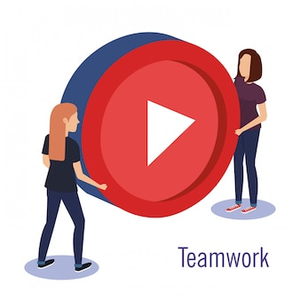 Couple teamwork with media player button