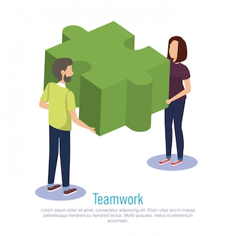 Couple teamwork with puzzle pieces