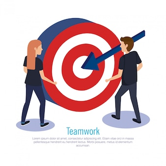 Couple teamwork with target