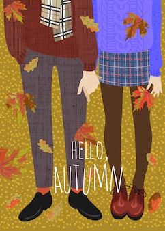 Couple of teenagers and falling autumn leaves.