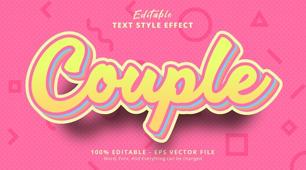 Couple text on light and fancy color style, editable text effect