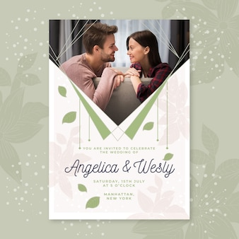Couple together wedding party invitation