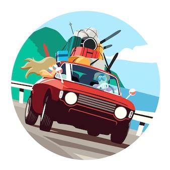 Пара турист путешествует на машине