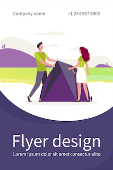 Couple of tourists enjoying camping. tent, nature, landscape flat flyer template