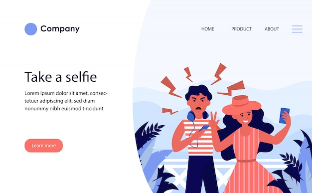 Couple of tourists taking selfie on vacation. website template or landing page