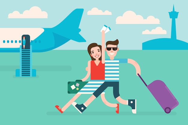 Couple tourists traveling by airplane woman holds air tickets in hand