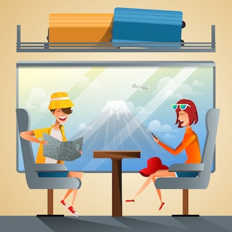 Couple tourists traveling by train together
