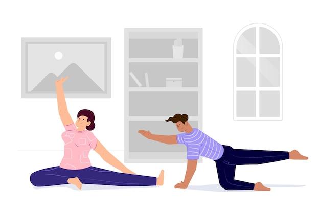 Пара тренируется дома и занимается спортом