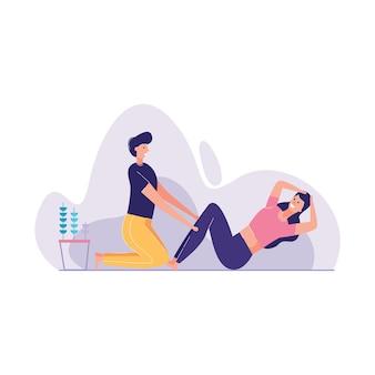 Couple training gym