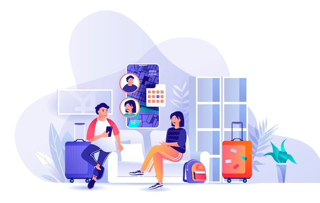 커플 여행 휴가 함께 사람들이 문자 평면 디자인 컨셉의 장면 그림