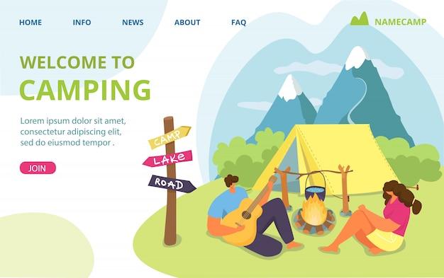 텐트와 커플 여행, 자연 캠프 그림에서 남자 여자 여름 휴가. 숲에서 야외 관광, 하이킹하는 사람들. 화재, 휴가 캠핑 레크리에이션 근처 사람들이 문자.