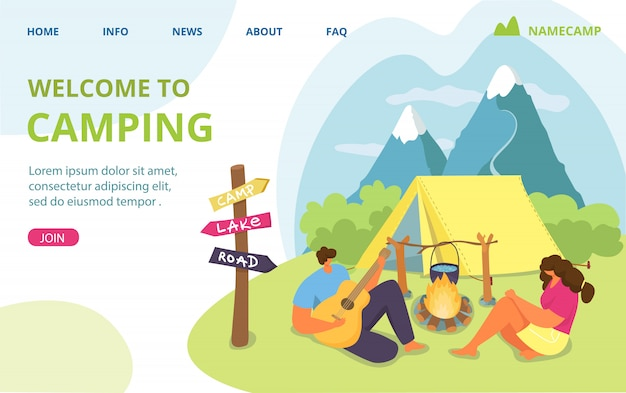 Couple travel with tent, man woman summer vacation at nature camp  illustration.  outdoor tourism in forest, people hiking. people character near fire, holiday camping recreation.