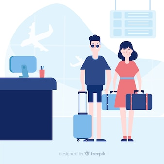 Couple traveling background