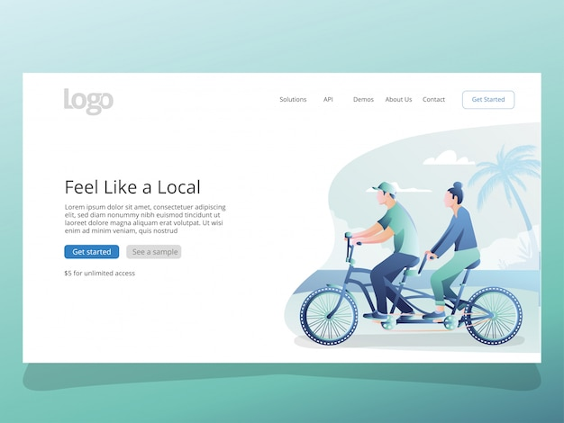 Couple traveling illustration for landing page template