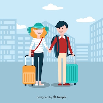 Couple traveling together background