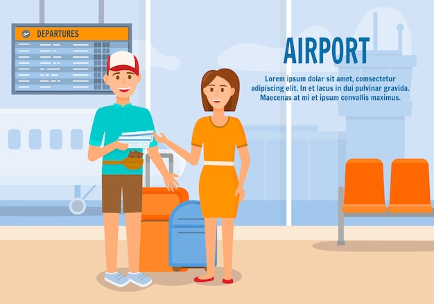 Couple traveling with luggage by airplane