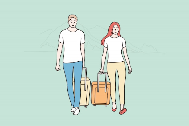 Couple, travelling, tourism, holiday, vacation, summer concept