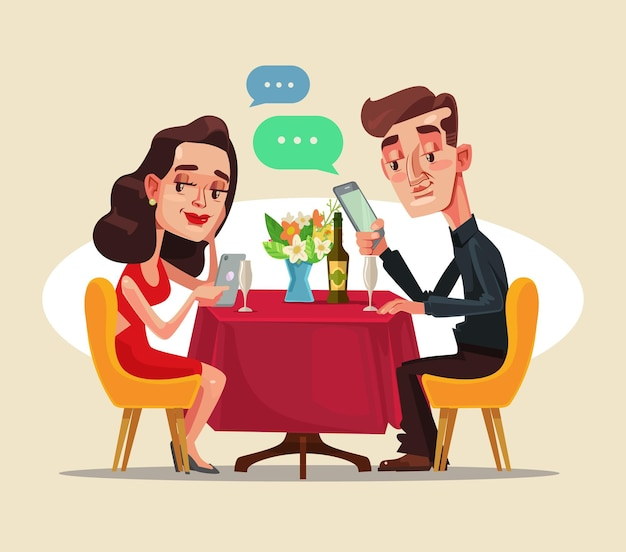 デートでカフェに座ってスマートフォンのソーシャルネットワークを使用して2人の男性と女性のキャラクターをカップルします。