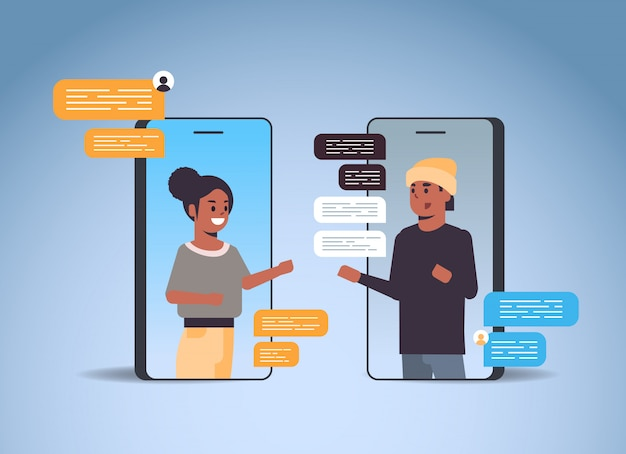 Couple using chatting app social network chat bubble communication concept