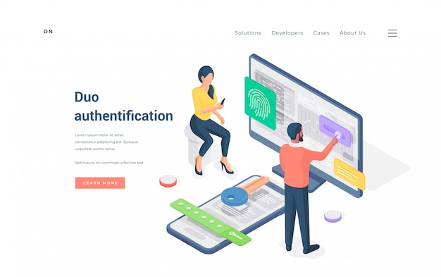 Couple using duo authentication on devices   illustration.
