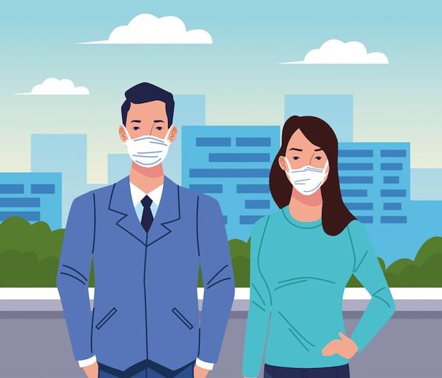 都市のコロナウイルスのフェイスマスクを使用してカップル Premiumベクター