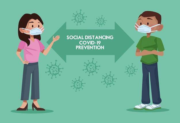 얼굴 마스크를 사용하고 사회적 거리를 연습하는 커플
