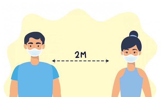 Пара, использующая маски для лица с социальным дистанцированием для covid19