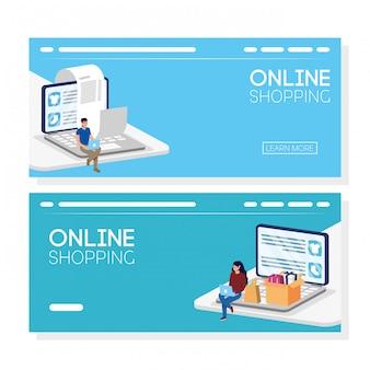 Пара, используя покупки онлайн технологий в ноутбуке