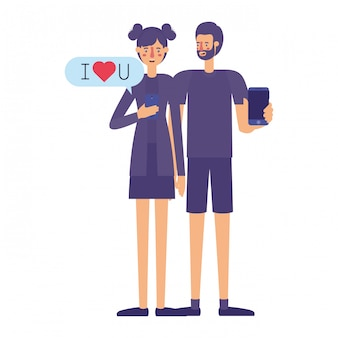 Couple using smartphone with speech bubble