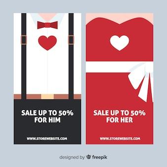 Пара валентина продажи баннер