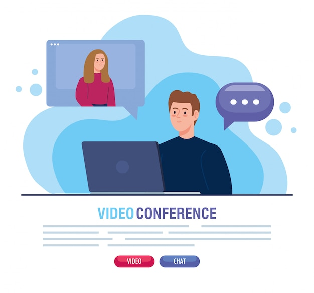 Couple in video conference in laptop