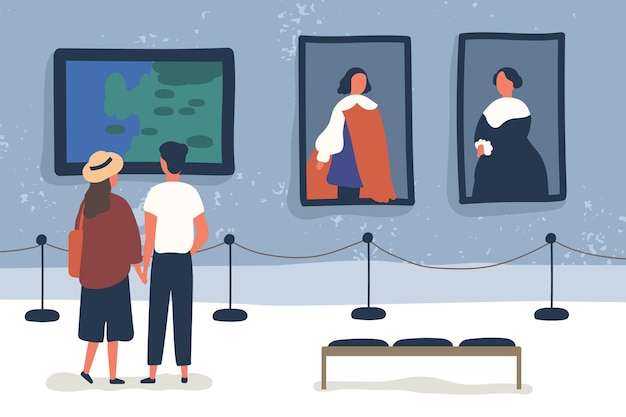 Couple visiting art gallery, museum flat vector illustration. people viewing showpieces at exhibition. tourists looking at paintings at display hall. man and woman enjoying artworks.