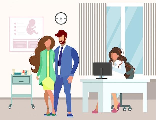 Couple visiting gynecologist flat illustration