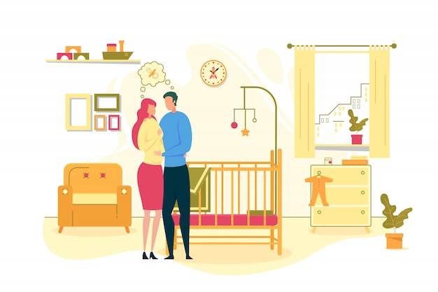 Couple waiting for baby birth illustration