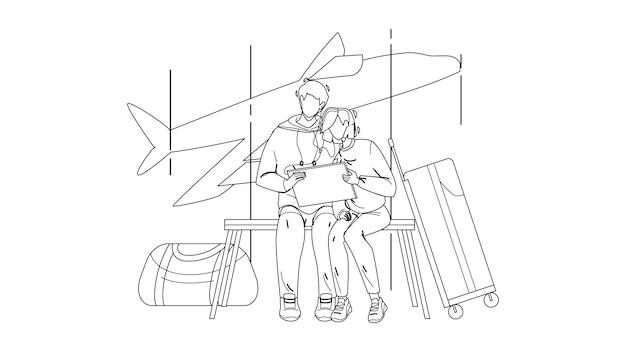 空港ターミナルの黒い線の鉛筆画ベクトルで飛行を待っているカップル。手荷物を持ってラップトップでビデオを見ている若い男性と女性は、飛行輸送を待ちます。キャラクターイラスト