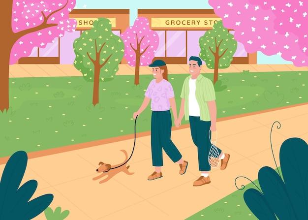 カップルは春の公園で歩くフラットカラーイラスト