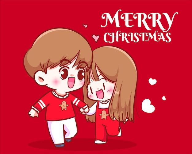 カップルの散歩とクリスマスの休日のお祝いの手描きの漫画アートイラストで手をつないで