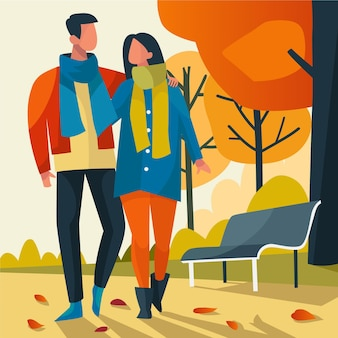 Couple walking in autumn illustration