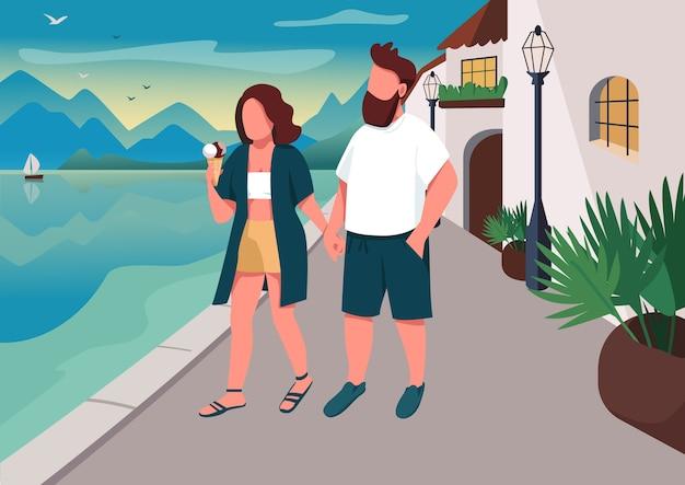 海辺のフラットカラーイラストを歩くカップル