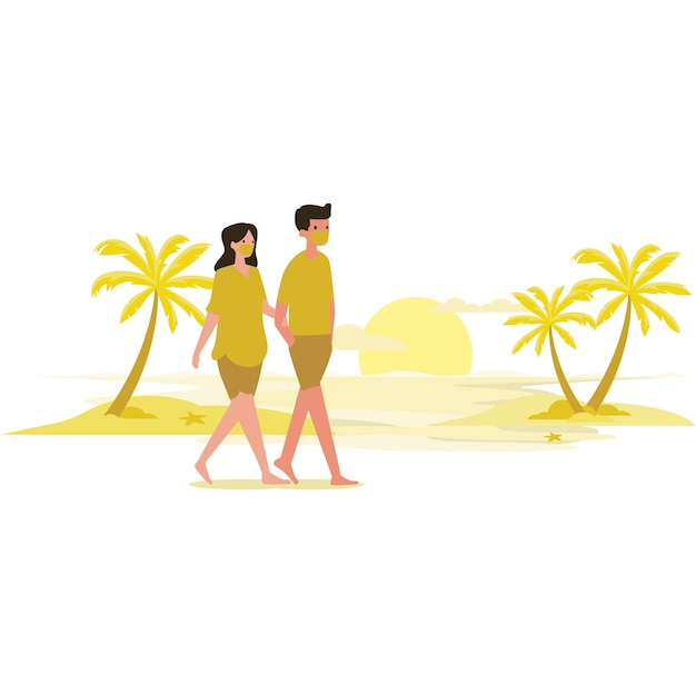 日没時にビーチを歩くカップル